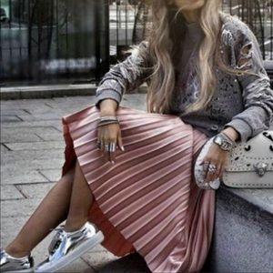 Bloggers Favorite Zara Satin Effect Pleated Skirt
